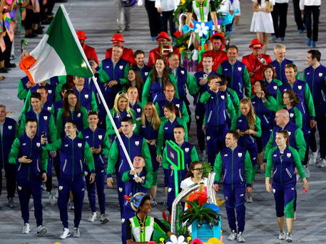 ACHIEVEMENT: Paddy Barnes leads the Irish team during the Opening Ceremony of the Rio Olympic Games. Photo: Paul Gilham