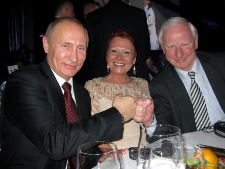 OLYMPIC SOCIAL CIRCUIT: Sylviane and Pat Hickey were no strangers to socialising with dignitaries such as Vladimir Putin
