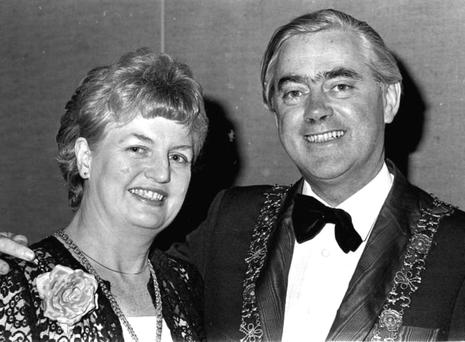 Tough campaigner: Then Lord Mayor of Dublin, Fergus O'Brien, and his wife Peggy at the Eurovision Song Contest in April, 1981