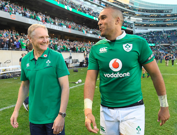 Joe Schmidt and Simon Zebo share a smile after last week's historic victory over New Zealand in Chicago Picture: Sportsfile