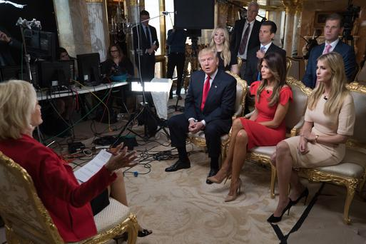 60 Minutes: Sitting, from left, Donald Trump, his wife Melania and daughter Ivanka. Standing, Tiffany, Donald John and Eric Trump. Photo: Chris Albert/CBS