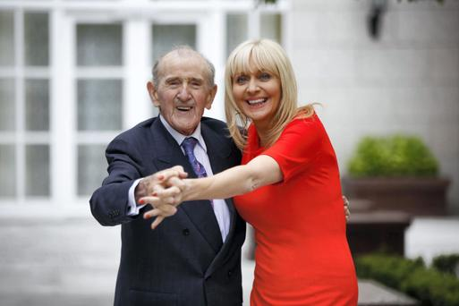 LEGAL EAGLE: Ireland's oldest practising barrister Maurice Gaffney, pictured at the Irish Law Awards three years ago with Miriam O'Callaghan, was recognised for his contribution to law