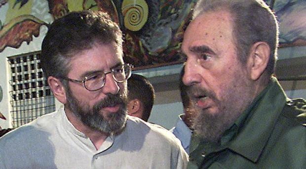 Sinn Fein leader Gerry Adams tweeted pictures of himself with Fidel Castro and hailed the former Cuban leader's stance on Ireland Picture: PA
