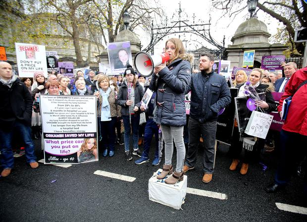 Jillian McNulty, who has cystic fibrosis, addressing a protest at Leinster House calling for the HSE to fund Orkambi Photo: Tom Burke