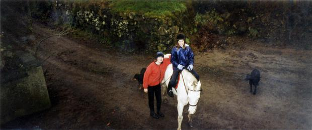 Elle and her sister Alicia with their pony Sally.