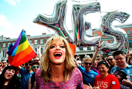 REMEMBER THE REFERENDUM: Panti Bliss and Yes supporters in Dublin Castle during the gay marriage referendum count. In these days of political correctness, being against same-sex marriage is often taken as 'evidence of homophobia'. Photo: Brian Lawless