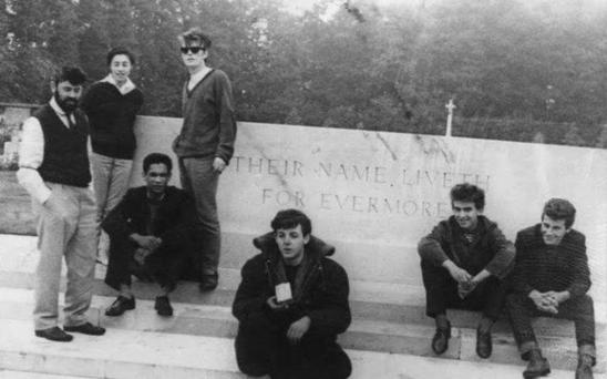 YESTERDAY: Picture taken by John Lennon at the Arnhem War Memorial in Holland in 1960. From the left: Allan Williams, his wife Beryl, his business partner and Calypso singer Lord Woodbine, and Beatles Stuart Sutcliffe, Paul McCartney, George Harrison and Pete Best