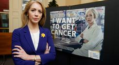 "Cancer researcher Dr Antoinette Perry during the launch by the Irish Cancer Society of its ""I Want To Get Cancer"" campaign. Photo: Andres Poveda"