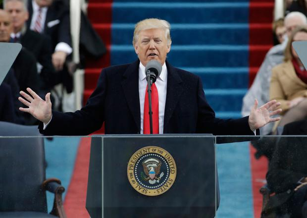US President Donald Trump delivers his inaugural address after being sworn in in Washington DC on Friday. Photo: Patrick Semansky/AP