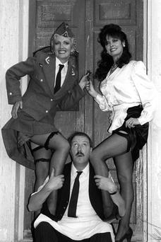 MON DIEU: Gorden Kaye as cafe owner Rene, with Kim Hartman, as Helga (left), and Vicki Michelle as Yvette