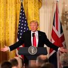 FLAG WAVING: British PM Theresa May and US President Donald Trump last week