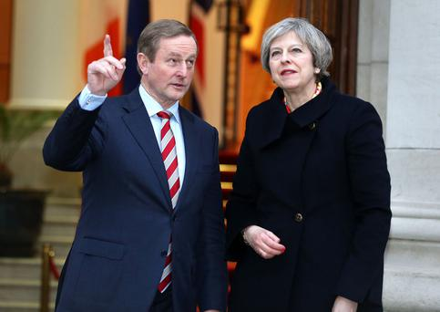 DELUDED: British PM Theresa May with Taoiseach Enda Kenny in Dublin last week. Photo: Gerry Mooney