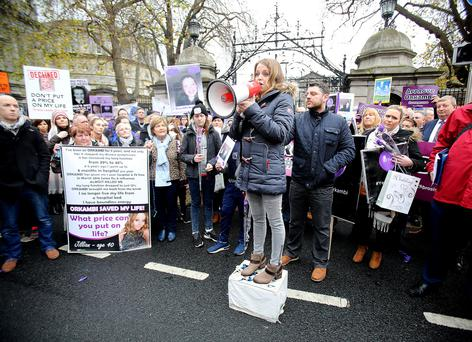 Jillian McNulty, who has cystic fibrosis, addressing a protest at Leinster House last year