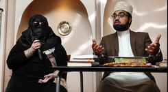 REVELATIONS: De-radicalised Muslim Sister Aaliya, which is not her real name, speaking to media alongside Sheikh Umar Al-Qadri, who is the imam at Al-Mustafa Islamic Centre, Coolmine Industrial Estate, in Blanchardstown, Dublin, and the chair of the Muslim Peace & Integration Council. Photo: Steve Humphreys
