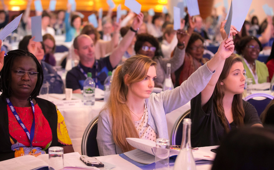 Delegates voting at the INMO Annual Conference at White's Hotel in Wexford last month. Photo: Patrick Browne