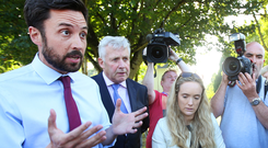 Housing Minister Eoghan Murphy speaking to media at the Stameen estate in Drogheda, Co Louth, about the water shortages. Photo: Steve Humphreys