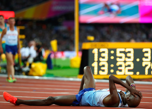 Mo Farah after finishing second in the 5,000m final at the World Championships in London last night. Photo: Michael Steele/Getty