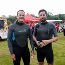 Taoiseach Leo Varadkar poses with Eoghan Murphy before the Dublin City Triathlon 2017 in the Phoenix Park, Dublin. Photo Gareth Chaney.