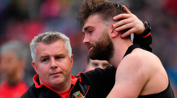 Mayo manager Stephen Rochford with Aidan O'Shea: 'For the second year in a row, Mayo have spurned the opportunity of their lives.' Photo: Brendan Moran