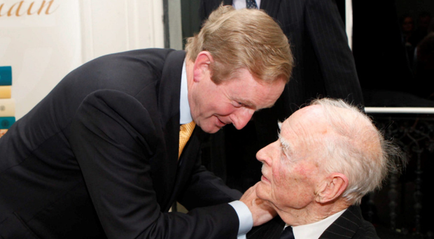 Enda Kenny and Liam Cosgrave talk at 45 Merrion Square, Dublin, in November 2011. Photo: Gareth Chaney Collins
