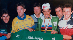 Ireland's four-pro team at the 1987 Road World Championships — Paul Kimmage, Sean Kelly, Stephen Roche and Martin Earley — post-race celebrating Roche's historic victory in Villach, Austria.