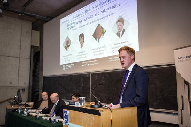SPEAKING OUT: Irish Independent Editor Fionnan Sheahan addresses last week's symposium at Trinity College, Dublin. Photo: Arthur Carron