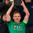 Cork City captain Conor McCormack lifts the trophy following his side's victory during the President's Cup match between Dundalk and Cork City. Photo: Seb Daly/Sportsfile