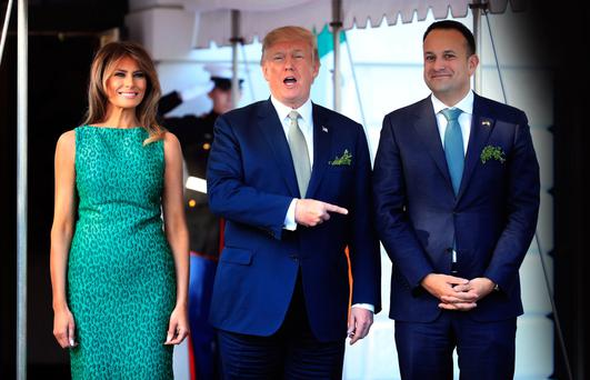 White House welcome: Leo Varadkar with President Trump and his wife Melania. The Taoiseach was in a tricky position but he made the right call by prioritising trade talks. Photo: AP