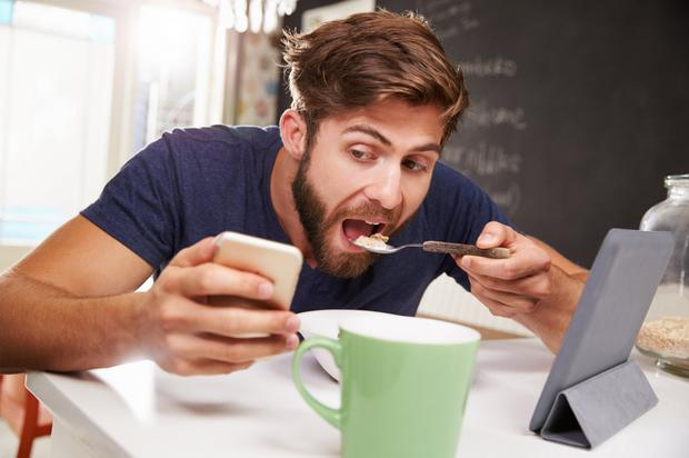 Limited data: Don't be on your phone while eating breakfast