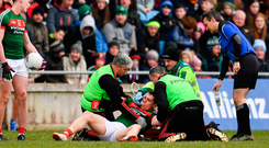 'The biggest concern has to be Lee Keegan as his dislocated shoulder rules him out of the opening May date with Galway'. Photo: Sportsfile