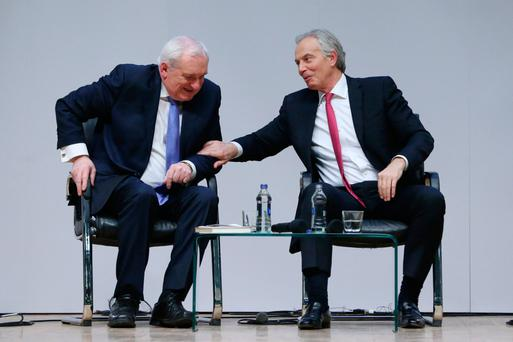 HISTORY: Former Taoiseach Bertie Ahern and former Prime Minister Tony Blair at an event to mark the 20th anniversary of the Good Friday Agreement last week at Queen's University in Belfast