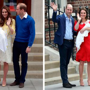 Camera-ready: Kate and Will leaving the Lindo Wing of St Mary's Hospital in London with Prince George (left), Princess Charlotte (centre) and their as yet unnamed son (right)