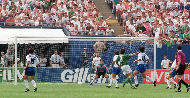 Ray Houghton scores against Italy at USA 94: 'For five days, after our 1-0 win over Italy, Ireland believed we were going to win the World Cup'