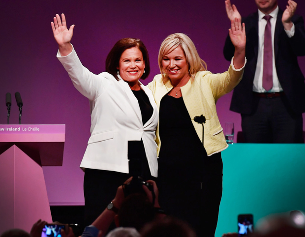 Mary Lou McDonald with Michelle O'Neill. Photo: Charles McQuillan/Getty