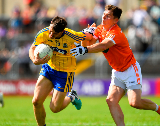 Roscommon's Diarmuid Murtagh tries to get away from Patrick Burns of Armagh. Photo: Brendan Moran/Sportsfile
