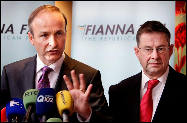 DIVIDED PARTY: Galway West TD Eamon O Cuiv, pictured right with Micheal Martin, is a bit like Ireland's answer to British Tory Brexiteer Jacob Rees-Mogg, only without the fun