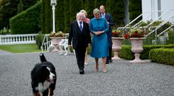 IMPORTANT ROLE: President Higgins and his wife Sabina with Britain's Prince Edward, Earl of Wessex and Sophie, Countess of Wessex when they paid a visit to Aras An Uachtarain last week. Photo: Tony Maxwell
