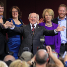 ENCORE FOR THE PRESIDENT? Michael D Higgins and his wife Sabina celebrate his 2011 presidential win with their children (from the left) Michael, Alice Mary, John and Daniel. Photo: AFP/Getty