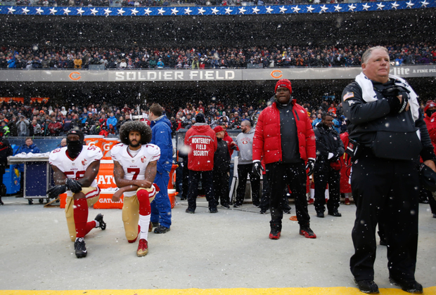 Colin Kaepernick's anthem protest gained little notice until he changed his stance to kneeling. Photo: Getty Images
