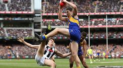 Jeremy McGovern of the West Coast Eagles marks during the 2018 AFL Grand Final against Collingwood Magpies which was played in front of 100,022 spectators. Photo: Ryan Pierse/AFL Media/Getty Images)