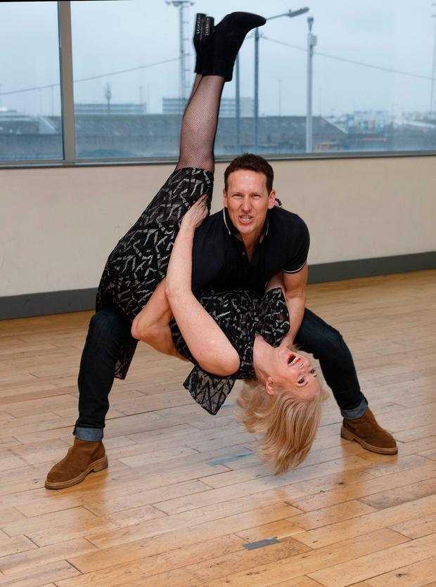 Bairbre takes on a Strictly routine with Brendan Cole. Photo: Fran Veale
