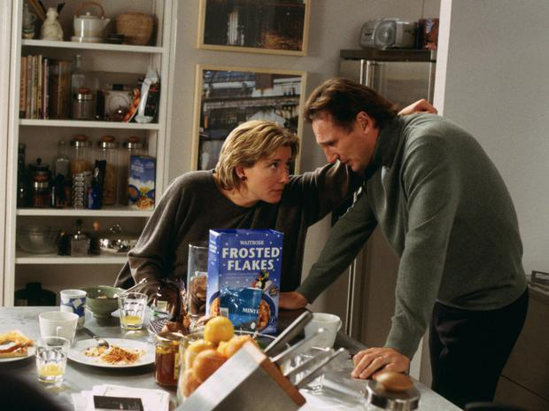 Emma Thompson consoles Liam Neeson in Love Actually. Photo: Universal Pictures/Photofest