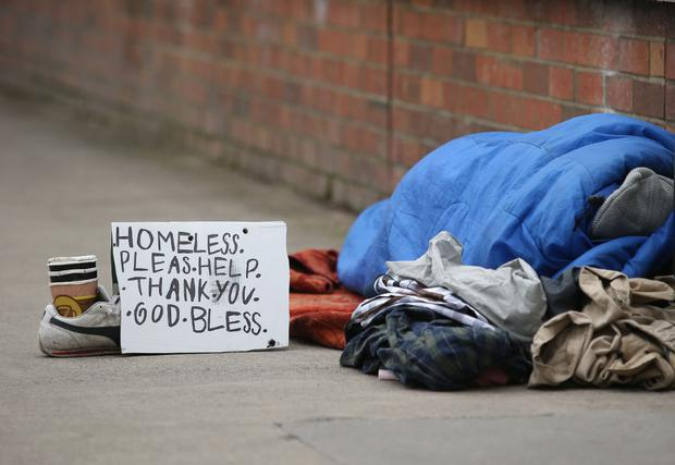 Desperate: A homeless person on Dublin's Waterloo Road. Photo: Damien Eagers