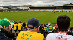 Donegal and Tyrone supporters await the start of their Super 8 match in Ballybofey last August. Photo: Oliver McVeigh