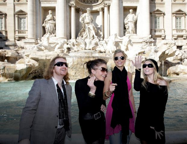 Barry Egan with Alli MacDonnell, Vogue Williams and Tara Leniston during their crazy, fun-filled break in the Italian capital in 2008. Photo: Gerry Mooney