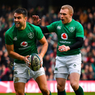 Conor Murray (left) celebrates with teammate Keith Earls. Photo: Sportsfile