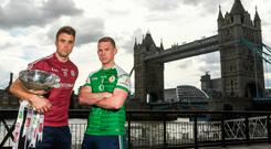 Galway's Paul Conroy and London's Liam Gavaghan ahead of today's Connacht championship game. Photo: Sportsfile