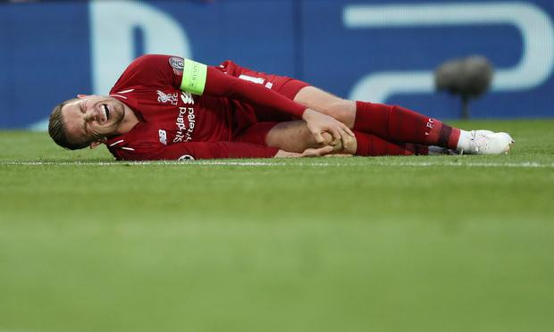 'Liverpool skipper Jordan Henderson revealed he was barely able to walk after a cynical stamp from Barcelona's Clement Lenglet early in the epic semi-final'. Photo: Action Images via Reuters