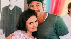 Lena Dunham poses with Brad Pitt on her birthday