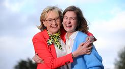 Huge vote: MEP Mairead McGuinness celebrates with her friend Deirdre O'Hea at the Castlebar count centre after her election. Photo: Mark Condren